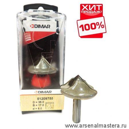 Фреза по гипсокартону  под впитывающий клей D 35 B 17 d 8 мм паз 90 гр Dimar 51209755 ХИТ!