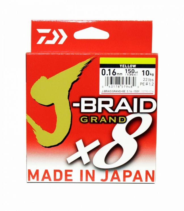 Шнур плетеный DAIWA J-Braid Grand X8 135 м Yellow