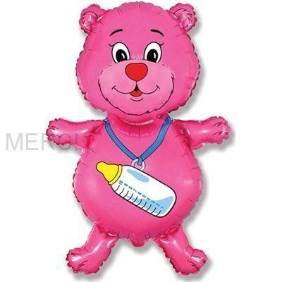 "Шар фигура ""Медвежонок"", розовый"