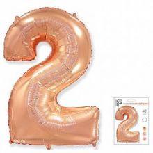 """Фигура """"2""""  (40""""/102 см) розовое золото, в упаковке"""