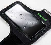 "Чехол спортивный на руку Baseus Flexible Wristband (CWYD-A06) для смартфонов 5"" (Black/Green) фото5"