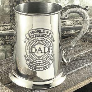 """Английский зеркальный Танкард (пивная кружка) - """"Лучший в мире Папа""""-1 Pint World's Greatest Dad Tankard."""