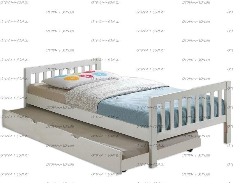 Кровать Юлия с выкатным спальным местом массив Fairy Land (любые размеры)