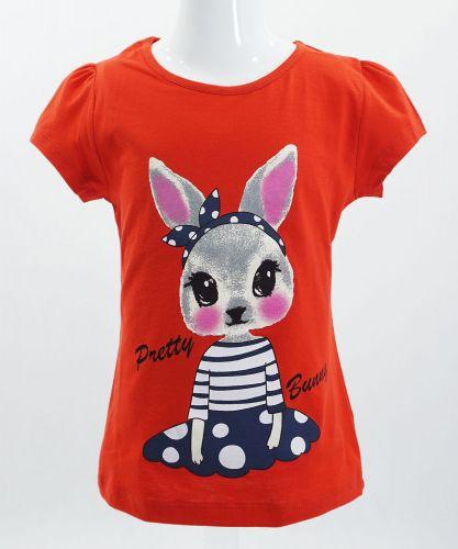 """Футболка для девочек Bonito kids """"bunny"""" 4-8 лет красная"""