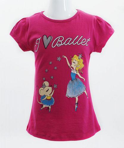"""Футболка для девочек Bonito kids """"I love Ballet"""" 4-8 лет малиновая"""