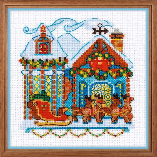 Набор для вышивания крестом Домик с санями №1661 фирма Риолис