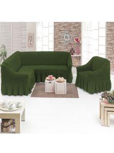 Чехол д/мягкой мебели Угловой 2-х пр.(3+1) кресла 1шт с оборкой (1шт.)  ,Зеленый