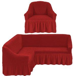 Чехол д/мягкой мебели Угловой 2-х пр.(3+1) кресла 1шт с оборкой (1шт.)  ,кирпичный