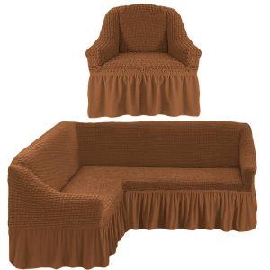 Чехол д/мягкой мебели Угловой 2-х пр.(3+1) кресла 1шт с оборкой (1шт.)  ,Коричневый