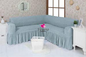Чехол на диван угловой 2+3 универсальный ,голубой