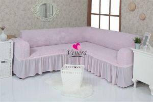 Чехол на диван угловой 2+3 универсальный с оборкой (1шт.)  ,Светло-розовый