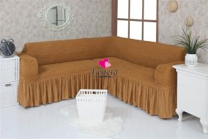 Чехол на диван угловой 2+3 универсальный с оборкой (1шт.) , Горчичный
