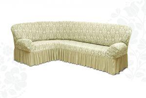 Чехол на диван угловой Престиж универсальный ,Ваниль v1