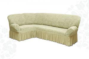 Чехол на диван угловой Престиж универсальный ,Ваниль v2