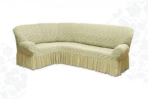 Чехол на диван угловой Престиж универсальный ,Ваниль v6
