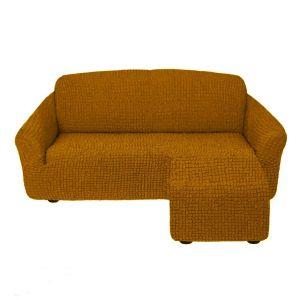 Чехол для углового дивана оттоманка без оборки правый,темно рыжий