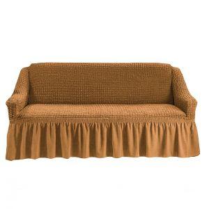 Чехол на 4-х-местный диван с оборкой (1шт.),Горчичный