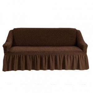 Чехол на 4-х-местный диван с оборкой (1шт.),Шоколадный
