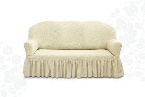 Чехол на трехместный диван Престиж с оборкой ,10004 ваниль