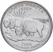 ХАЛЯВА!!! 25 центов США 2006г - Северная Дакота, VF - Серия Штаты и территории