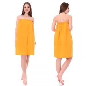 Накидка для сауны жен (75х150), цв.апельсин, ваф.полотно 160г/м, хл100%   4308942