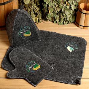 """Банный набор вышивка шапка, коврик и рукавица """"С легким паром! Будь здоров! 2761061"""