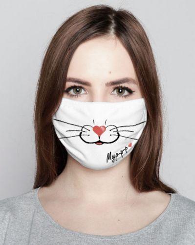Маска для лица ( двойная) белая  с рисунком №003