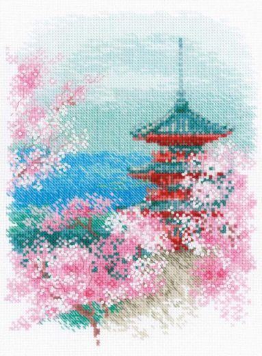 Набор для вышивания крестом Сакура. Пагода №1743 фирма Риолис