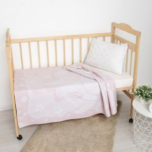 Одеяло жаккардовое Медвежонок, 100х140 см, бел/роз, хл50%, пэ30%, пан20%   4515185