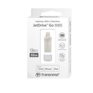 32GB USB3.1-флэш накопитель Transcend JetDrive Go 500 (USB/lightning) MFi серебристый металл.