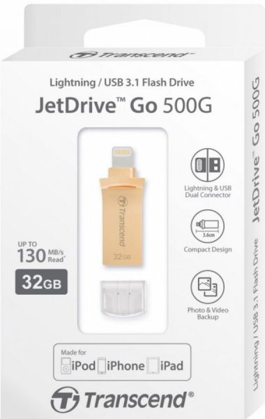32GB USB3.1-флэш накопитель Transcend JetDrive Go 500 (USB/lightning) MFi золотистый металл.