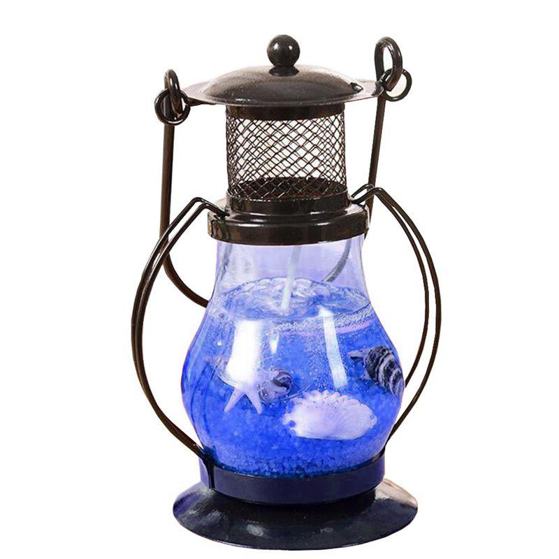 Гелевая свеча Керосиновая Лампа 13 см (цвет наполнителя синий)