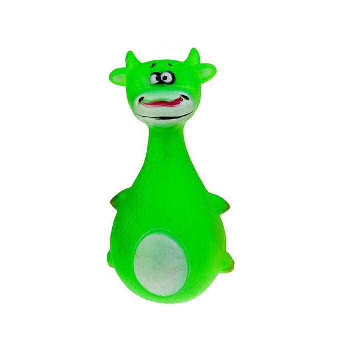 Виниловая Игрушка-Пищалка Для Собак Зеленая Корова, 13.5 См