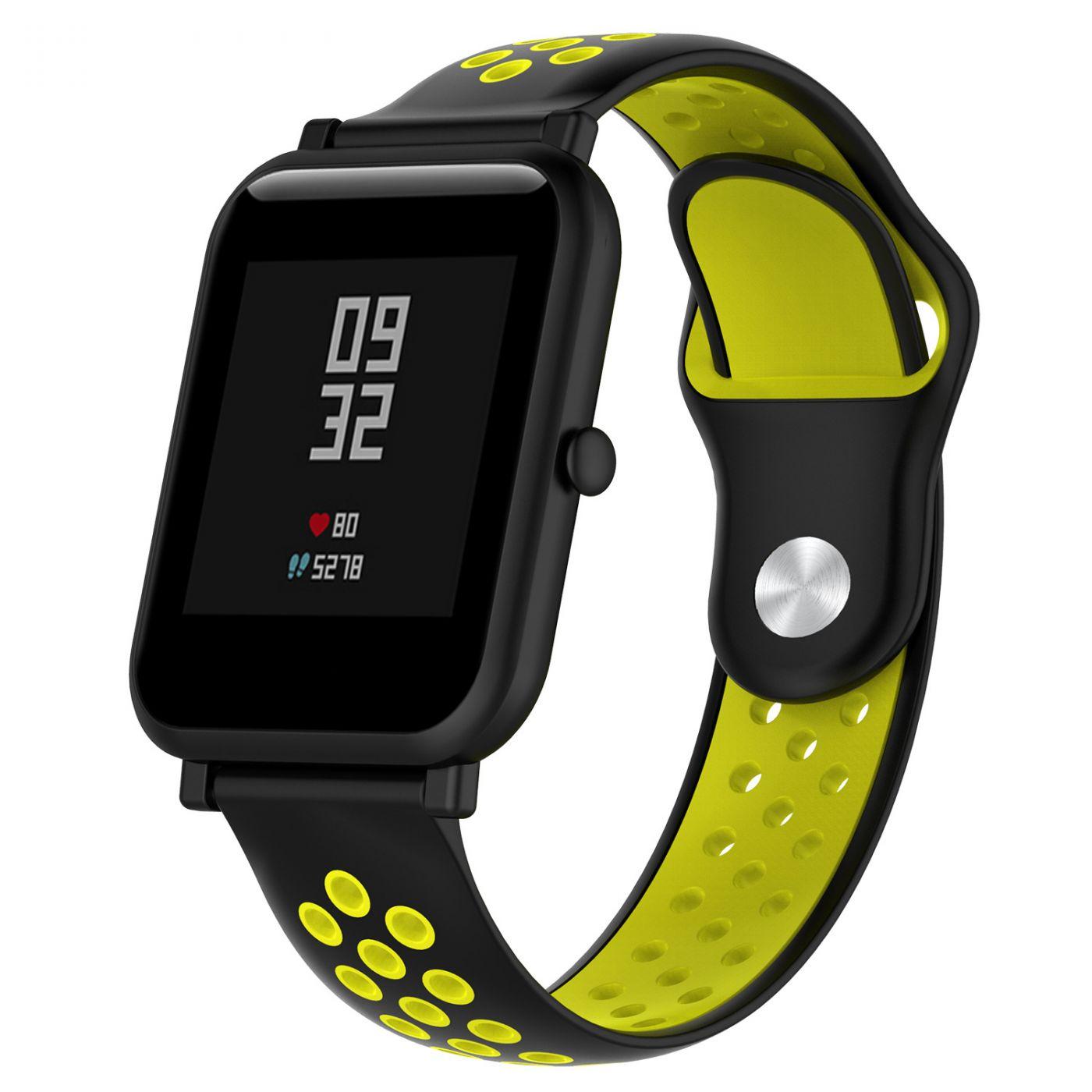 Сменный ремешок для Умных часов  Amazfit Bip Smartwatch (Черный - Желтый)