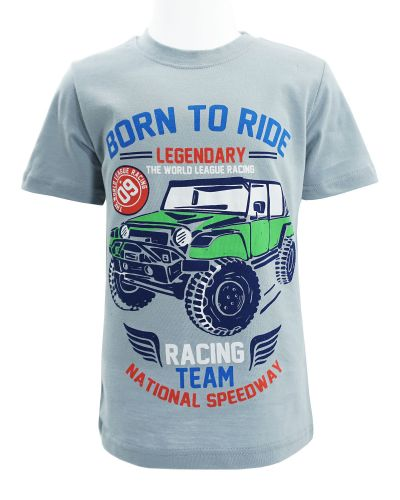 """Футболка для мальчика Dias kids """"Born to ride"""" 4-8 лет серая"""
