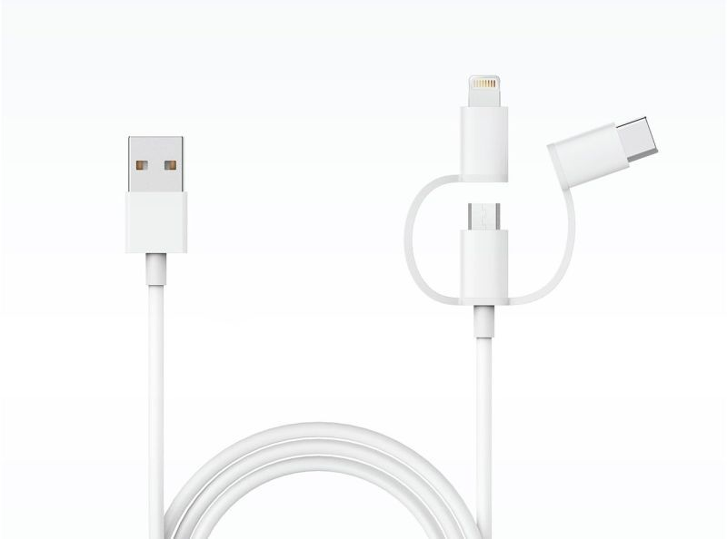 Кабель Xiaomi Zaofeng 3-Way Data cable Lightening/Type-C/Micro USB  100 см. (Белый)