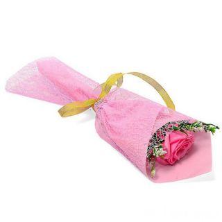 Букет из парфюмированного мыла в бумажной упаковке, 40 см, Розовый