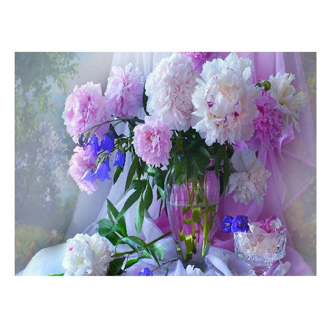 Картина по номерам Пионы в стеклянной вазе 15*20см KH0247