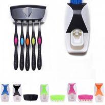 Автоматический дозатор зубной пасты + держатель для щёток, чёрный