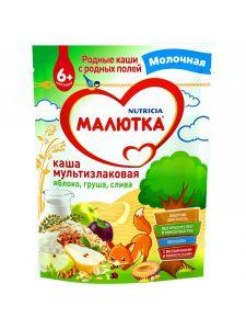 Каша Малютка молоч. Мультизлаковая яблоко, груша, слива 0,22 кг д/п
