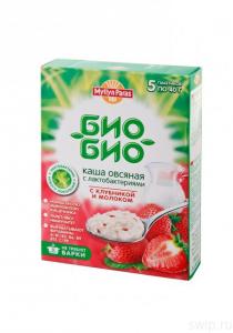 """Каша овсяная Био-Био 200 гр с клубникой и молоком """"Мюллюн Парас"""""""