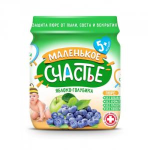 Пюре Маленькое счастье 90г Яблоко/Голубика ст/б