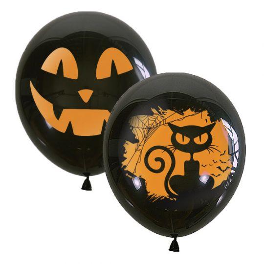 Хэллоуин Тыквы и Кошки латексные шары с гелием