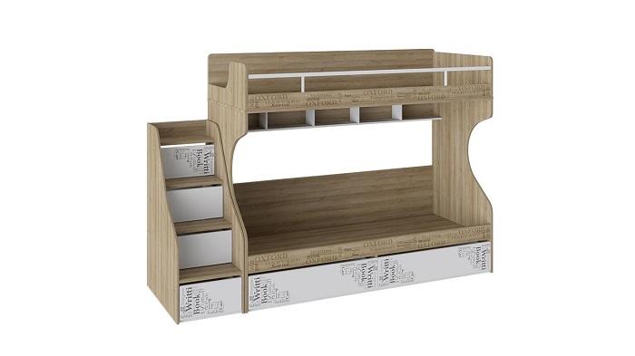 Кровать 2-х ярусная «Оксфорд» с лестницей приставной с ящиками