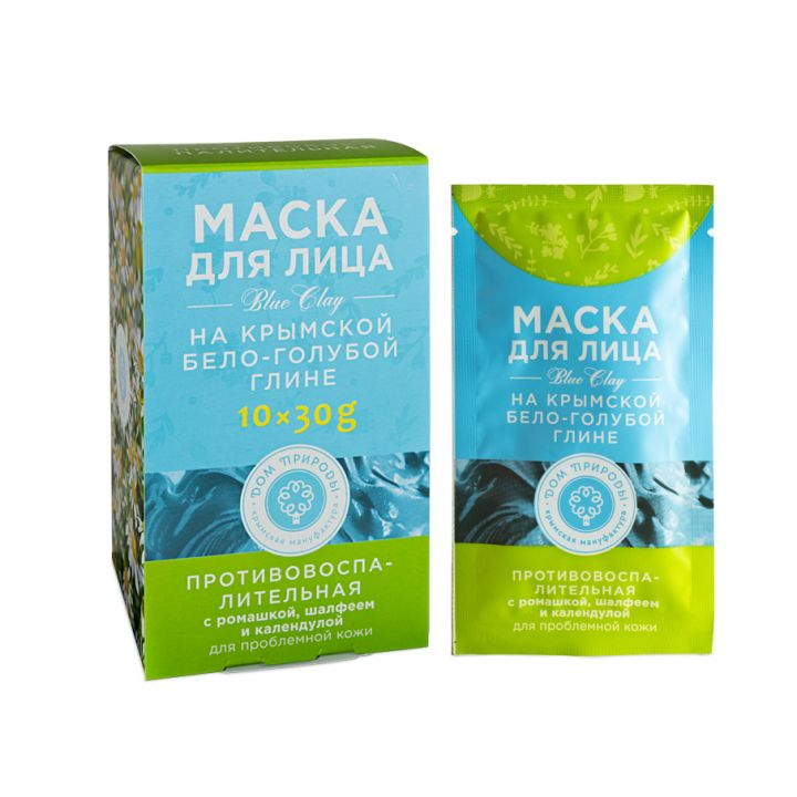 Маска на основе крымской бело-голубой глины Противовоспалительная, 30 гр.