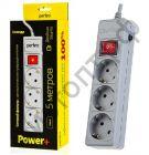 """Удлинитель Perfeo """"POWER+"""" сетевой фильтр, 5,0м, 3 розетки, серый (PF-PP-3/5,0-G)"""
