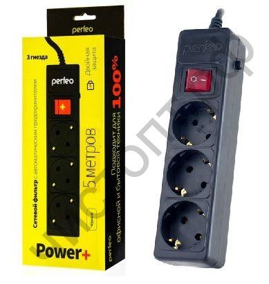 """Удлинитель Perfeo """"POWER+"""" сетевой фильтр, 5,0м, 3 розетки, черный (PF-PP-3/5,0-B)"""