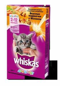 Корм для котят WHISKAS подушечки с молоком индейкой морковью 350г