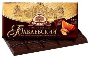 Шоколад БАБАЕВСКИЙ С кусочками апельсина/миндаль 100г