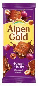 Шоколад ALPEN GOLD фундук/изюм 90г